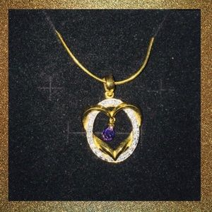 Gold Platted necklace with Amethyst stone